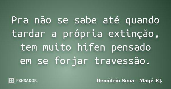 Pra não se sabe até quando tardar a própria extinção, tem muito hífen pensado em se forjar travessão.... Frase de Demétrio Sena - Magé-RJ..