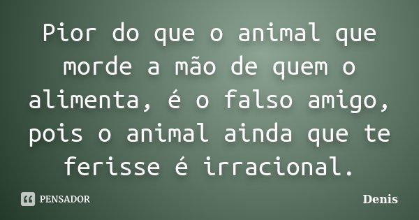 Pior do que o animal que morde a mão de quem o alimenta, é o falso amigo, pois o animal ainda que te ferisse é irracional.... Frase de denis.