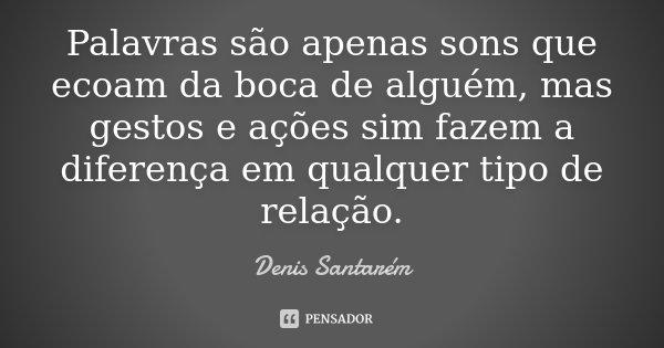 Palavras são apenas sons que ecoam da boca de alguém, mas gestos e ações sim fazem a diferença em qualquer tipo de relação.... Frase de Denis Santarém.