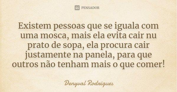Existem pessoas que se iguala com uma mosca, mais ela evita cair nu prato de sopa, ela procura cair justamente na panela, para que outros não tenham mais o que ... Frase de Denyval Rodrigues.