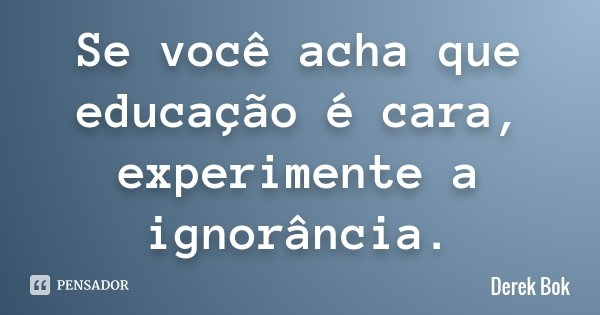 Se você acha que educação é cara, experimente a ignorância.... Frase de Derek Bok.