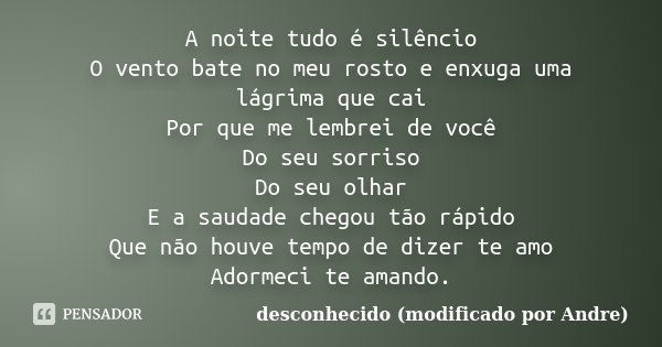 A noite tudo é silêncio O vento bate no meu rosto e enxuga uma lágrima que cai Por que me lembrei de você Do seu sorriso Do seu olhar E a saudade chegou tão ráp... Frase de desconhecido (modificado por Andre).