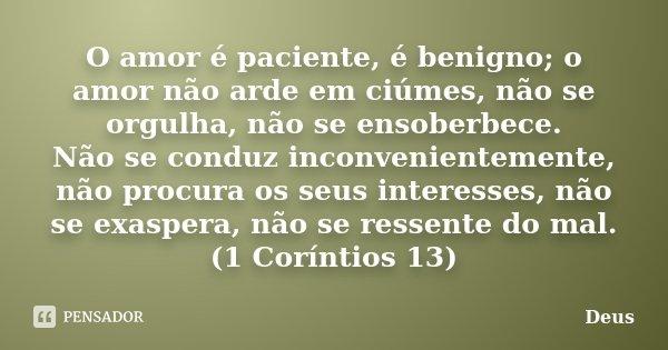 O amor é paciente, é benigno; o amor não arde em ciúmes, não se orgulha, não se ensoberbece. Não se conduz inconvenientemente, não procura os seus interesses, n... Frase de Deus.