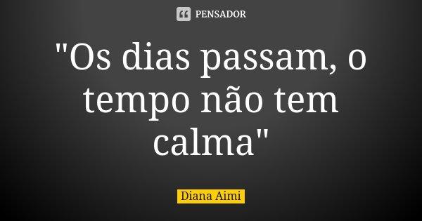 """""""Os dias passam, o tempo não tem calma""""... Frase de Diana Aimi."""