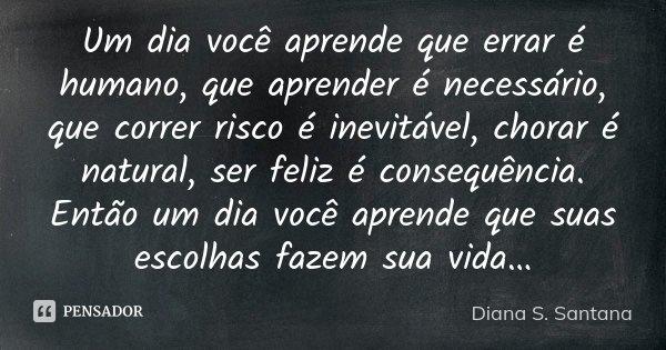 Um Dia Você Aprende Que Errar é... Diana S. Santana