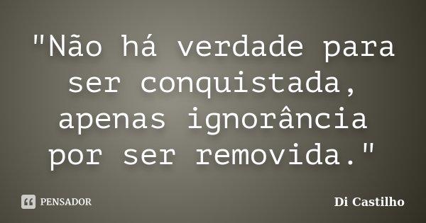 """""""Não há verdade para ser conquistada, apenas ignorância por ser removida.""""... Frase de Di Castilho."""