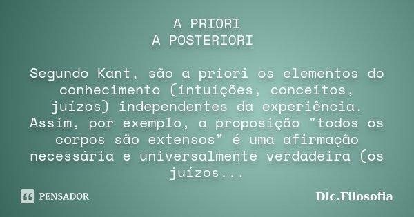 A Priori A Posteriori Segundo Kant Dicfilosofia