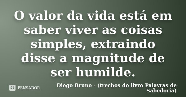 O valor da vida está em saber viver as coisas simples, extraindo disse a magnitude de ser humilde.... Frase de Diego Bruno (Trechos do livro Palavras de Sabedoria).