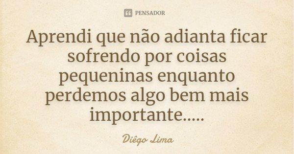 Aprendi que não adianta ficar sofrendo por coisas pequeninas enquanto perdemos algo bem mais importante........ Frase de Diêgo Lima.