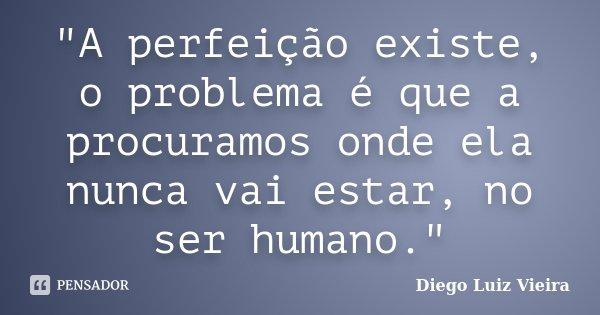 """""""A perfeição existe, o problema é que a procuramos onde ela nunca vai estar, no ser humano.""""... Frase de Diego Luiz Vieira."""