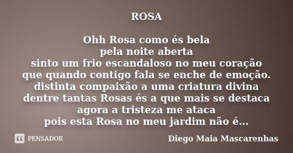 ROSA Ohh Rosa como és bela pela noite aberta sinto um frio escandaloso no meu coração que quando contigo fala se enche de emoção. distinta compaixão a uma criat... Frase de Diego Maia Mascarenhas.