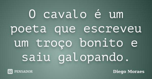 O cavalo é um poeta que escreveu um troço bonito e saiu galopando.... Frase de Diego Moraes.