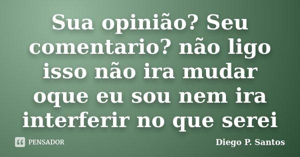 Sua Opinião Seu Comentario Não Ligo Diego P Santos