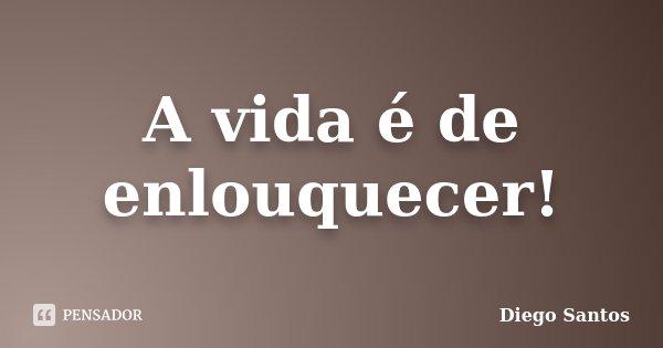 A vida é de enlouquecer!... Frase de Diego Santos.
