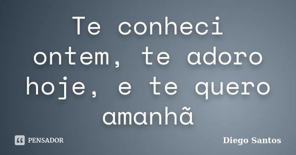 Te conheci ontem, te adoro hoje, e te quero amanhã... Frase de Diego Santos.