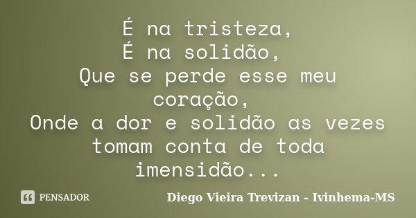 É na tristeza, É na solidão, Que se perde esse meu coração, Onde a dor e solidão as vezes tomam conta de toda imensidão...... Frase de Diego Vieira Trevizan - Ivinhema-MS.
