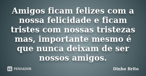 Amigos ficam felizes com a nossa felicidade e ficam tristes com nossas tristezas mas, importante mesmo é que nunca deixam de ser nossos amigos.... Frase de Dinho Brito.