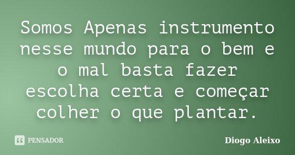 Somos Apenas instrumento nesse mundo para o bem e o mal basta fazer escolha certa e começar colher o que plantar.... Frase de Diogo Aleixo.