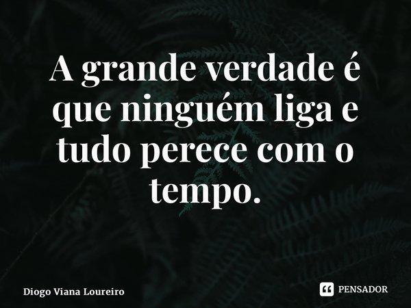 A grande verdade é que ninguém liga e tudo perece com o tempo. ... Frase de Diogo Viana Loureiro.