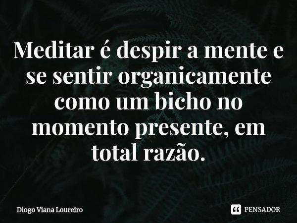 Meditar é despir a mente e se sentir organicamente como um bicho no momento presente, em total razão.... Frase de Diogo Viana Loureiro.