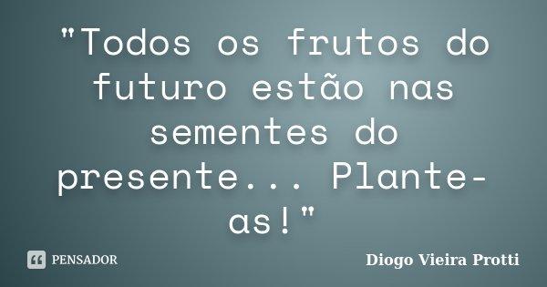 """""""Todos os frutos do futuro estão nas sementes do presente... Plante-as!""""... Frase de Diogo Vieira Protti."""