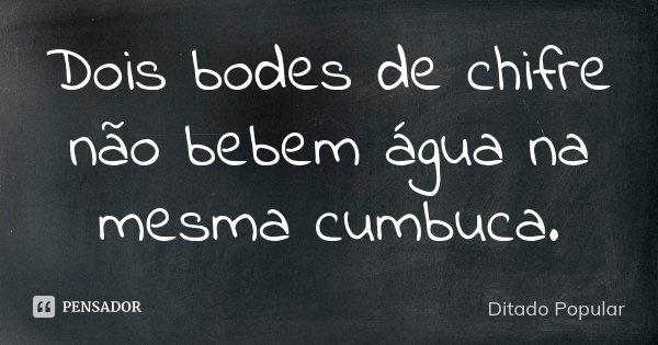 Dois bodes de chifre não bebem água na mesma cumbuca.... Frase de Ditado Popular.