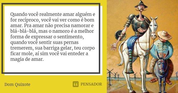 Quando você realmente amar alguém e for recíproco, você vai ver como é bom amar. Pra amar não precisa namorar e blá-blá-blá, mas o namoro é a melhor forma de ex... Frase de Dom Quixote.