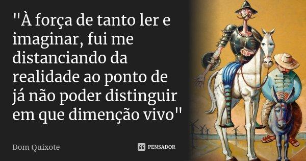 """""""À força de tanto ler e imaginar, fui me distanciando da realidade ao ponto de já não poder distinguir em que dimenção vivo""""... Frase de Dom Quixote."""