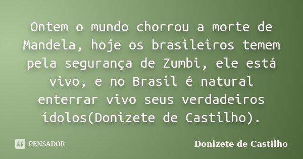 Ontem o mundo chorrou a morte de Mandela, hoje os brasileiros temem pela segurança de Zumbi, ele está vivo, e no Brasil é natural enterrar vivo seus verdadeiros... Frase de Donizete de Castilho.
