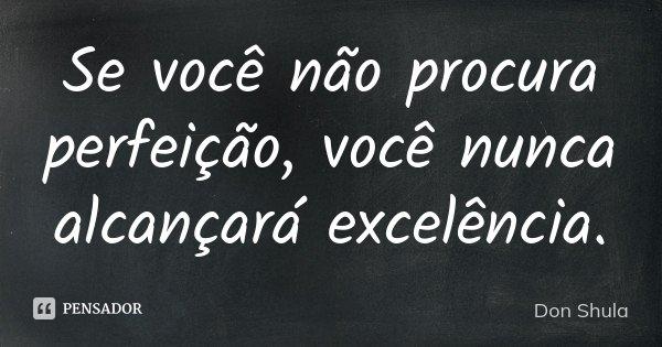 Se você não procura perfeição, você nunca alcançará excelência.... Frase de Don Shula.