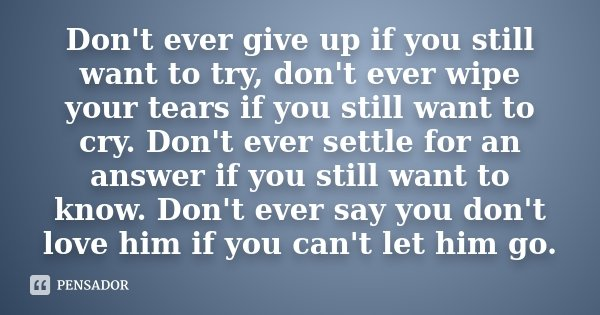 Don't ever give up if you still want to try, don't ever wipe your tears if you still want to cry. Don't ever settle for an answer if you still want to know. Don... Frase de Desconhecido.