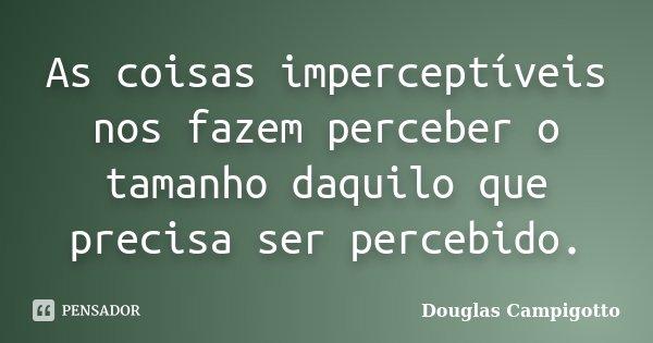 As coisas imperceptíveis nos fazem perceber o tamanho daquilo que precisa ser percebido.... Frase de Douglas Campigotto.