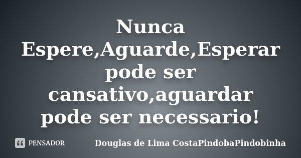 Nunca Espere,Aguarde,Esperar pode ser cansativo,aguardar pode ser necessario!... Frase de Douglas de Lima CostaPindobaPindobinha.