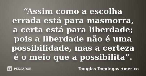"""""""Assim como a escolha errada está para masmorra, a certa está para liberdade; pois a liberdade não é uma possibilidade, mas a certeza é o meio que a possibilita... Frase de Douglas Domingos Américo."""