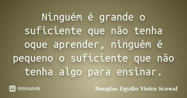 Ninguém é grande o suficiente que não tenha oque aprender, ninguém é pequeno o suficiente que não tenha algo para ensinar.... Frase de Douglas Egydio Vieira Scewal.