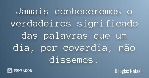 Jamais conheceremos o verdadeiros significado das palavras que um dia, por covardia, não dissemos.... Frase de Douglas Rafael.