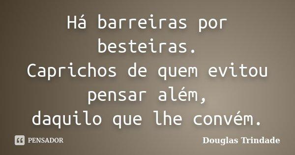 Há barreiras por besteiras. Caprichos de quem evitou pensar além, daquilo que lhe convém.... Frase de Douglas Trindade.
