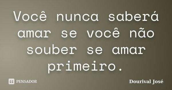 Você nunca saberá amar se você não souber se amar primeiro.... Frase de Dourival José.