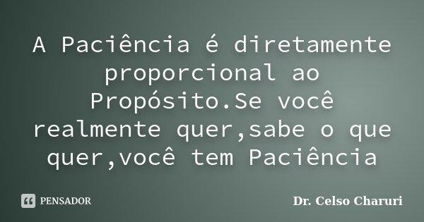 A Paciência é diretamente proporcional ao Propósito.Se você realmente quer,sabe o que quer,você tem Paciência... Frase de Dr. Celso Charuri.