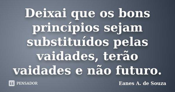 Deixai que os bons princípios sejam substituídos pelas vaidades, terão vaidades e não futuro.... Frase de Eanes A. de Souza.