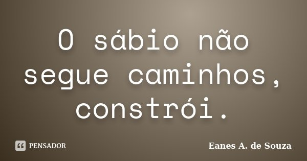 O sábio não segue caminhos, constrói.... Frase de Eanes A. de Souza.