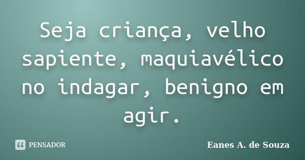 Seja criança, velho sapiente, maquiavélico no indagar, benigno em agir.... Frase de Eanes A. de Souza.