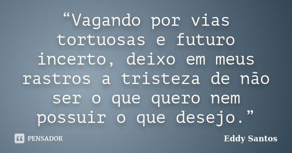 """""""Vagando por vias tortuosas e futuro incerto, deixo em meus rastros a tristeza de não ser o que quero nem possuir o que desejo.""""... Frase de Eddy Santos."""