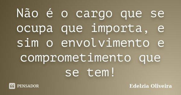 Não é o cargo que se ocupa que importa, e sim o envolvimento e comprometimento que se tem!... Frase de Edelzia Oliveira.