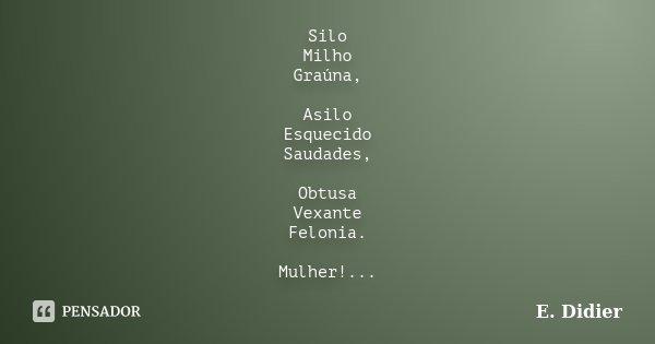 Silo Milho Graúna, Asilo Esquecido Saudades, Obtusa Vexante Felonia. Mulher!...... Frase de E.Didier.