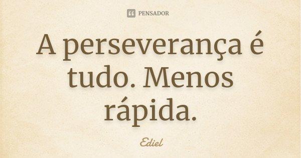 A perseverança é tudo. Menos rápida.... Frase de Ediel.