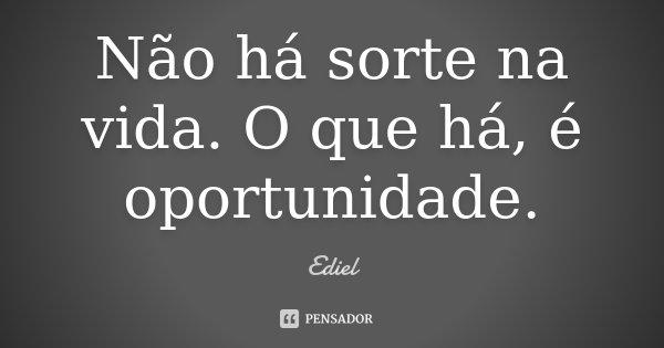 Não há sorte na vida. O que há, é oportunidade.... Frase de Ediel.