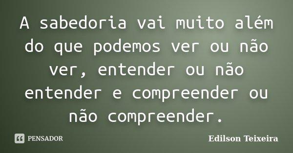 A sabedoria vai muito além do que podemos ver ou não ver, entender ou não entender e compreender ou não compreender.... Frase de Edilson Teixeira.