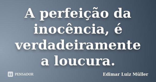 A perfeição da inocência, é verdadeiramente a loucura.... Frase de Edimar Luiz Müller.