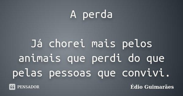 A perda Já chorei mais pelos animais que perdi do que pelas pessoas que convivi.... Frase de Édio Guimarães.